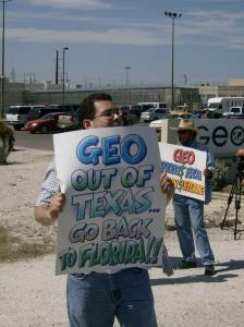 Protestor at Val Verde County Correctional Center